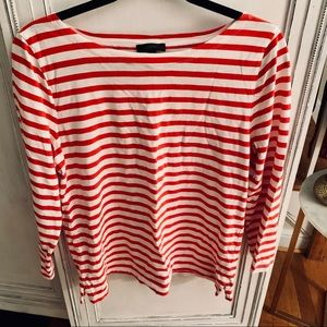 J. Crew red and white stripes long sleeve top